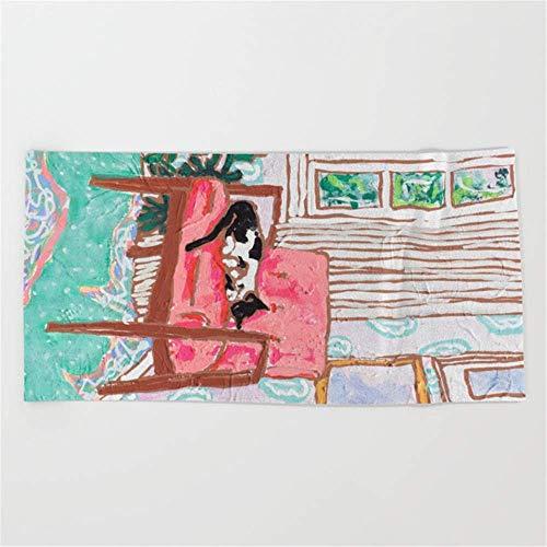 yuiytuo Toalla de baño,Juegos de Toallas Little Naps Tuxedo Cat Napping in a Pink Mid-Century Chair Beach Towel