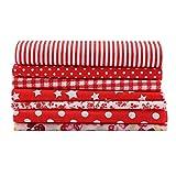 TOPINCN 7 unids 50 * 50 cm Telas de Algodón DIY Puntos Florales Cuadrados Precortados Cuartos Bundle Edredón de Algodón Tela Costura Acolchado Patchwork (Rojo)
