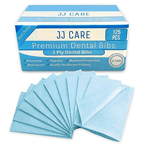 [UPGRADED] Pack of 125 Blue Dental Bibs, 3 Ply Waterproof Bibs 13 x 18 inches Disposable Patient Bibs, Dentist Bibs, Waterproof Tattoo Bibs, Dental Patient Bibs, Dental Bib and Dental Napkins
