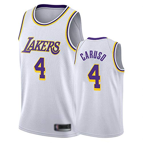 HBCC # 4 Alex Caruso Camiseta Lakers Chaleco,Uniforme de fanáticos Adultos de Baloncesto para niños Jersey,edición clásica Camiseta Bordada Fina Ropa Deportiva Blanca-A_L_Equipo de Deporte