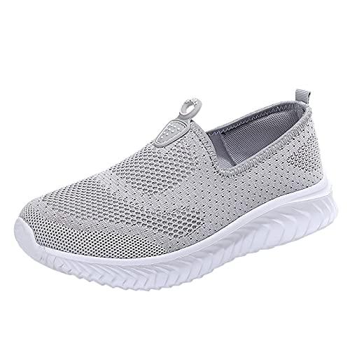 URIBAKY - Zapatillas deportivas de color liso de malla para mujer, transpirables, transpirables, suaves y cómodas, para exteriores, fitness, senderismo, gris, 38 EU