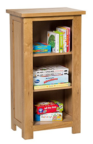 Waverly Oak Small Bookcase / CD DVD Storage / Bathroom Storage Display Shelves   3 Shelf Storage Low Bookshelf   Solid Wooden Bookshelves Unit in Light Oak Finish Office Living Room Furniture