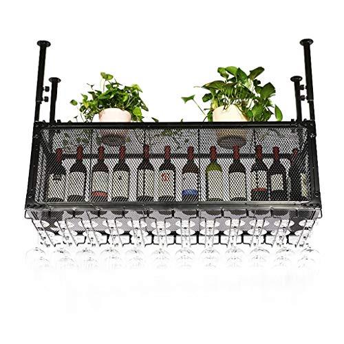 YUJIE Vintage-stijl plafond wijnrek   Metaal ijzer in hoogte verstelbaar flessenhouder bekerhouder   Creatieve bar decoratie display standaard - zwart 60/80/100/120/150 cm