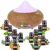 Sonolife - Humidificador y Difusor de Aroma con Kit de 12 Piezas de Esencias, Ultrasónico de 210 ml. con Luz LED