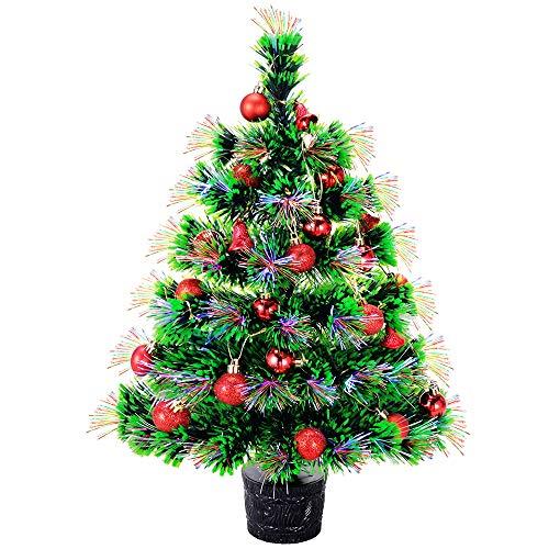 NULIPAM Künstlicher Weihnachtsbaum aus Glasfaser, 55,9 cm, beleuchteter Mini-Weihnachtsbaum mit solidem Sockel, Ornamente