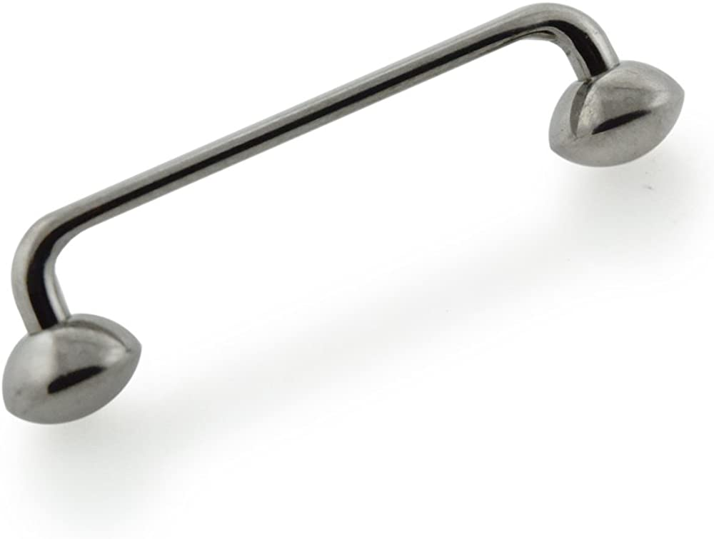PiercingPoint G23 Grade Titanium 14G (1.6MM) Surface Piercing Bar with Rugby Ball