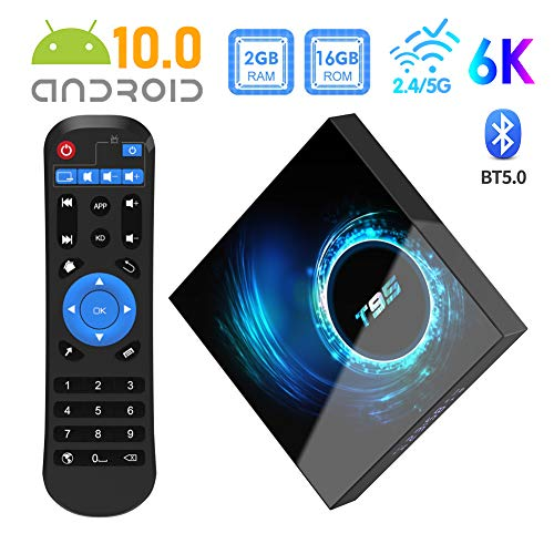 [2020 Novità] Box TV Android 10.0, Sidiwen T95 Allwinner H616 Quad-core 2GB RAM 16GB ROM Mali-G31 MP2 GPU 6K 3D BT5.0 2.4 / 5.0GHz Dual WiFi Ethernet DLNA HDMI Smart TV Box