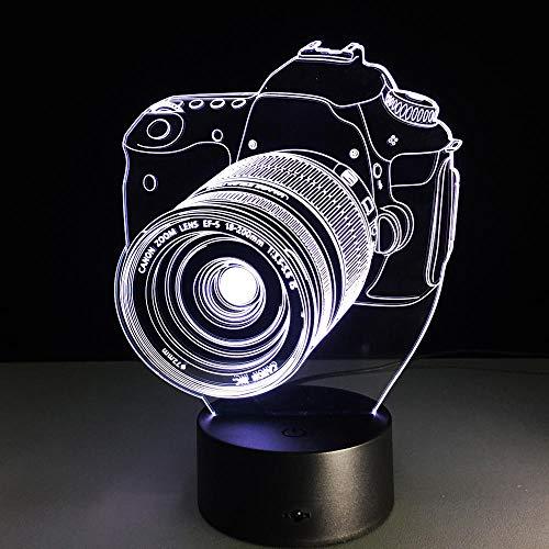 Lámpara De Ilusión 3D Luz De Noche Led Interruptor Táctil De 7 Colores Cámara De Fotografía Creativa Gradiente Colorido Para Enviar Regalos De Cumpleaños Para Amigos Varones Y Mujeres