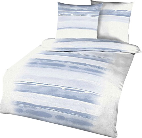 Kaeppel Seersucker Bettwäsche Blend hellblau 1 Bettbezug 135x200 cm + 1 Kissenbezug 80x80 cm