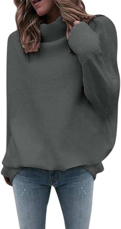 OverDose mujer Con Cuello En Cuello De Manga Larga De Algod/óN Casual S/óLido T/úNica Suelta Tops Camiseta Mujer Talla Grande
