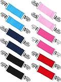 Zhanmai 6 Paar Elastische Handschuhclips Edelstahl-Handschuh- und Handschuhclips für Kinder und Erwachsene (Mehrfarbig, 13 cm)