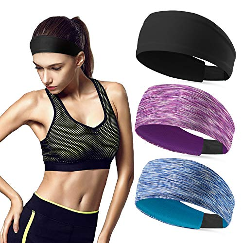 Sweat Bands No Slip Fashion Headbands for Women Workout Headbands Head Bands for Yoga Running Sports Gym (3 Pack -3)
