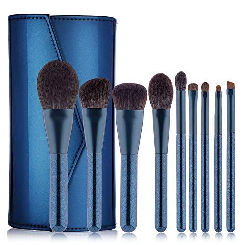 Set De Pinceaux De Maquillage 9 Pièces Mélange Fond De Teint Blush Oeil Outils De Maquillage Sac En Pu (bleu Perle)
