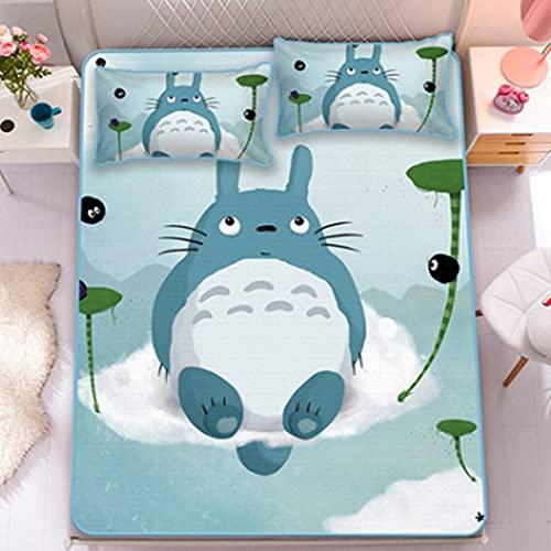 Boyijj Anime Totoro Funda de Almohada y Sábana Bajera Algodón(90CM*190CM-2PCS)