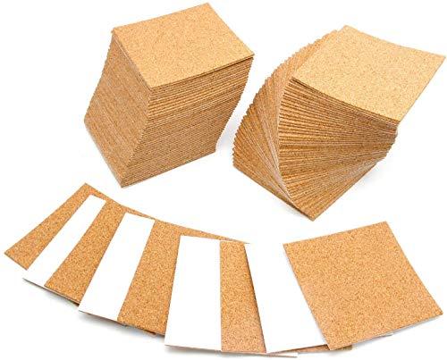 100 pizarras autoadhesivas cuadradas de corcho con adhesivo fuerte para hacer manualidades o posavasos.