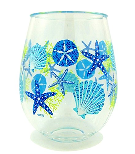 wine cup for beaches Summer Sea Shells Beach Plastic Wine Glass Tumbler, 16 oz, Pack of 2