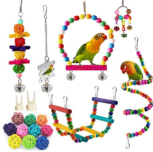 PBIEHSR Bird Parrot Swing Toys, Pet Bird Cage Hammock Chewing Toy Hanging Bell Wooden Perch for Small Parrots, Conures, Love Birds, Small Parakeets, Finches, Budgie (Multi-A)