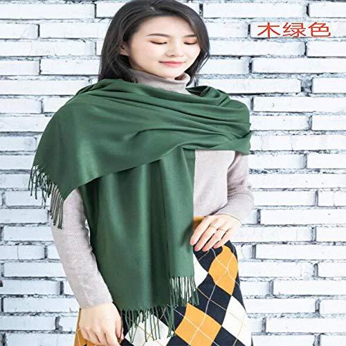 RUIKESI Herbst und Winter Damen warmen Schal Schal Nachahmung Kaschmir Reine Farbe Schal-Holz grün_200 cm * 70 cm