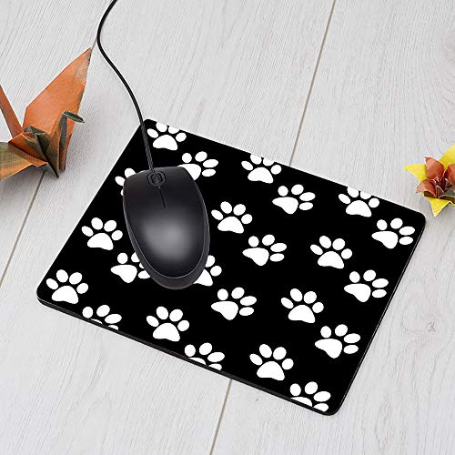 Nicokee Dog Paw Gaming Mousepad Dog Paw Prints Black White Mouse Pad Mouse Mat for Computer Desk Laptop Office 9.5 X 7.9 Inch Non-Slip Rubber Photo #5