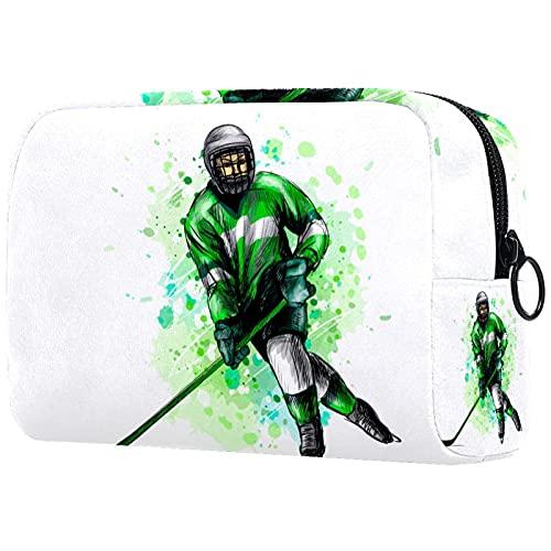 Bolsa De Viaje Cosmética Hockey sobre Hielo Bolsa De Almacenamiento para Artistas, Bolsa con Cremallera, Organizador De Cosméticos De Viaje para Mujeres Y Niñas 18.5X7.5X13Cm