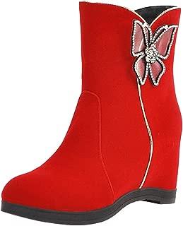 ELEEMEE Women Fashion Ankle Boots Wedge Heels Zip