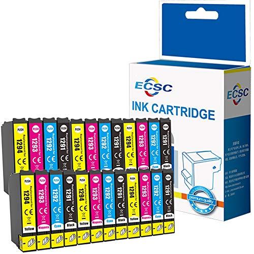 ECSC kompatibel Tinte Patrone Ersatz für Epson Stylus SX230 SX235W SX420W SX425W SX435W SX440 SX445W SX525WD SX535WD SX620FW Stylus Office B42WD BX305F BX305FW BX320FW BX525WD (B/C/M/Y, 24-Pack)