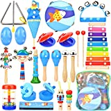 Dkinghome Baby Musical Instruments ,15 Types 22pcs Wooden Toddler Musical Toys Set,Education Percussion