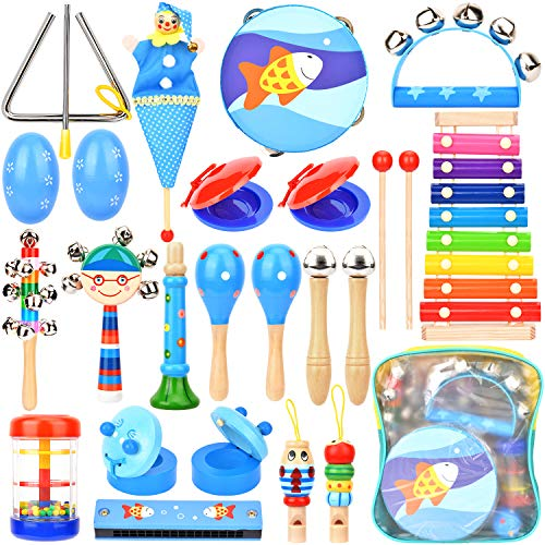 Dkinghome Baby Musical Instruments ,15 Types 22pcs Wooden Toddler Musical Toys Set,Education Percussion Toys Gift for Kids Boys Girls with Storage Backpack