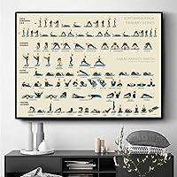 ヨガアシュタンガプライマリーシリーズポスターとプリント壁アート装飾的な絵キャンバス絵画リビングルームの家の装飾30x45cmフレームレス