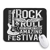 ROSECNY 可愛いマウスパッド ギターロックフェスティバルとロールサインヴィンテージミュージックハンドノンスリップゴムバッキングコンピューターマウスパッドノートブックマウスマット