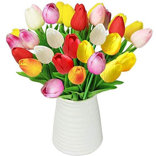 SparY Artificial Tulipanes, 12pcs Falso Flores de Tulipán Ramo - Auténtico Tulipa Ramos - para Hogar Cuarto de Estar Mesa de Comedor Adornos Boda - Aleatorio Color, Free Size