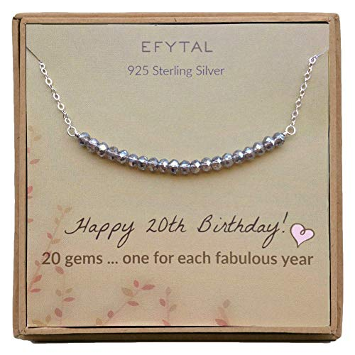 20th Birthday Gifts for Women, Sterling Silver Necklace, 20 beads for 20 Year Old Girl, Jewelry Gift Idea
