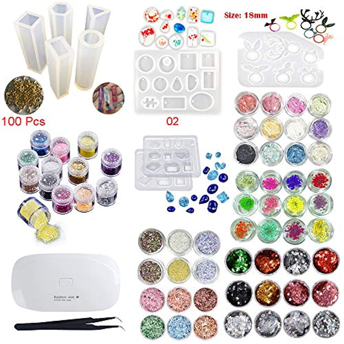 INNICON 9* Silicone Muolds 60x Sequins Set For Professional Making Decoration Sets Jewelry & Cosmetic Earrings 100 Screws Eye Pins Necklaces Gemstone Ring With Eagle UV Lamp