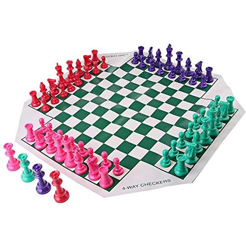xxz Juego de ajedrez portátil para Cuatro Jugadores, Tablero de ajedrez de Cuero Cuadrado con Piezas de ajedrez de Colores Mejora la Capacidad de Pensamiento lógico de los niños, para 2-4 Jugadores
