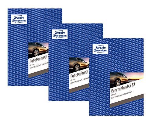 Avery Zweckform 223 Fahrtenbuch - A5, weiß (40 Blatt | PKW | DIN A5, 3 Stück)