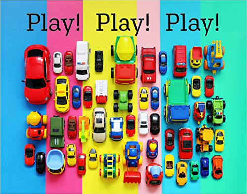 Play! Toy Car Fine Art Print Decor- Fun Colorful Poster - 11x14 Unframed Wall Art Photo - Gift for Kids. Boy or Girls Room Decor Under $15. For the love of Hot Wheels and Tonka Trucks