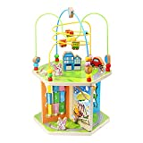 ZONXIE Wooden 7 in 1 Baby Activity Play Cube Bead Maze Toys Activity Center for Babies Toddlers Educational Early Preschool Learning Toys