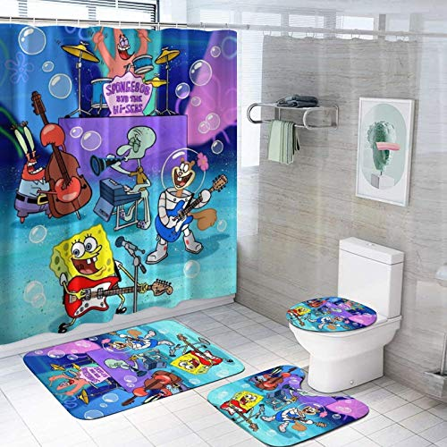 SOMIK SpongeBobs Shower Curtain Sets with Non-Slip Rugs, Toilet Lid Cover and Bath Mat,Durable Waterproof Shower Curtains with 12 Hooks,Quick-Drying Shower Curtains for Bathroom