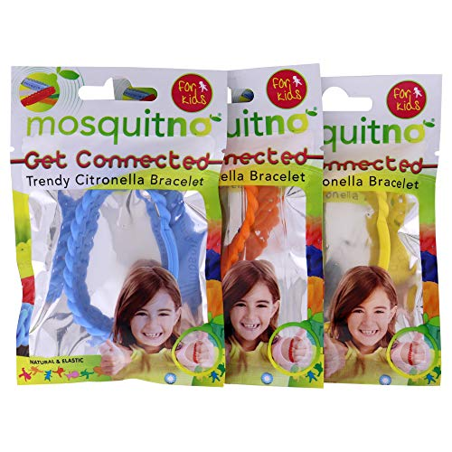 MosquitNo Citronella Kids Bracelet - Natural, Outdoor, Long-Lasting Bite Protection and Bug Repellent - One Size Fits All, Waterproof - 3 Pieces (Colors - Light Blue, Orange, and Yellow)
