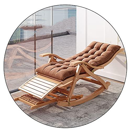 ZYYH Tumbona de jardín Plegable para Exteriores, Silla Mecedora de bambú, sillón reclinable Perezoso Ajustable portátil, con Almohadilla de algodón extraíble y Pedales retráctiles, Carga 200 kg