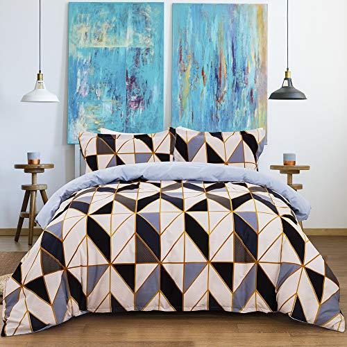 Fansu Geometric Bedding Set, Diamond Fusion Printed Duvet Set Quilt Case Pillow Case - Boys Girls Bedroom Microfiber Duvet Cover Set for Double King Single Bed (Blue,200x230cm)