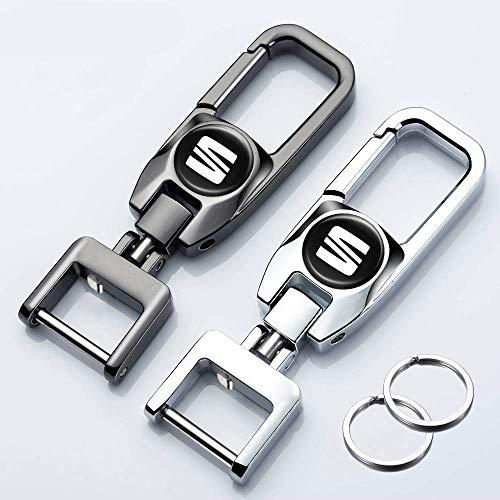 Hey Keyla 2PCS Llavero con Logo de Coche Llavero de Metal portátil de Acero Inoxidable Giratorio de 306 ° para Hombres y Mujeres, un Clic para Abrir, S-Eat