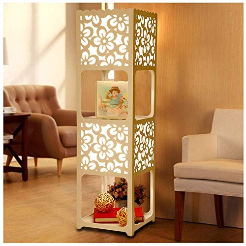 Vloerlamp, binnenverlichting 90cm Vloerlamp - Wit Hollow Carving Vloerlamp, met planken voor Slaapkamer & Woonkamer