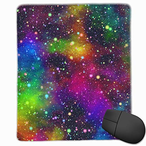 Resumen Nebulosa Colorida Brillante del Universo Cielo Estrellado Nocturno en Colores del Arco Iris Alfombrilla de ratón Alfombrilla de ratón Linda Alfombrilla de Goma con Borde Cosido Alfombrilla de