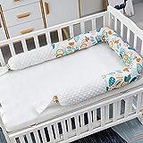 2M/2.4M Bebé U forma Almohada para dormir Almohadillas de parachoques de cuna de cama, Cubierta protectora de riel de seguridad para cuna, Protector cabeza acolchado protección cama, Almohada embarazo