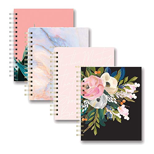 Studio Oh! Medium Tabbed Spiral Notebook, Swirled Marble bundled with Bella Flora on Black, Agave on Coral and Another Meeting Medium Tabbed Spiral Notebooks