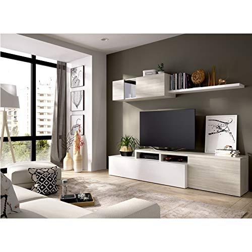 HABITMOBEL Mueble de salón Comedor Moderno, Medidas:Alto:180cm - Ancho:200cm - Fondo:41cm (Blanco Brillo y Gris)
