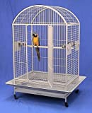 """Cage dimension: 36''L x 26''W x 50''H with an overall height of 65""""(Including stand) Bar spacing: 1'' , Wire gauges: 3.5mm and 4.5mm Three heavy duty stainless steel cups, three swing out feeder door Slide-out grate and bottom metal tray for easy cle..."""