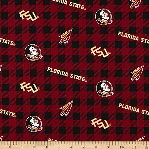 Sykel Enterprises NCAA Florida State Seminoles Buffalo Plaid Cotton Fabric, Dark Red