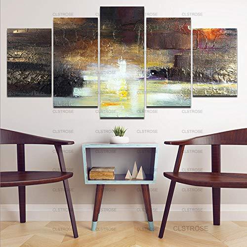 5 Piece Canvas Blanco Negro Pintura De Arte Abstracto Lienzo Decoración Del...